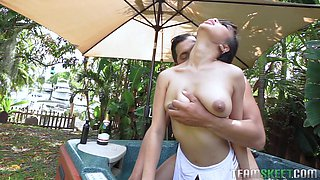 Fucking in the pool and taking Jade Kush inside for more hot sex