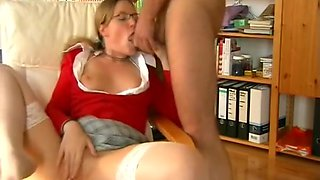 Nasty stepsister Anne in glasses enjoy her anal lesson