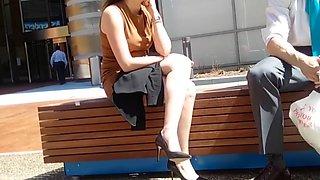 Tan dress black heels