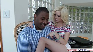 Huge black dude impales pussy of Piper Perri on his giant hose in flying pose