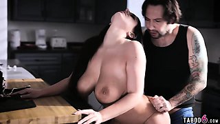 Married couple with busty wife wild sex in the kitchen