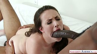 Duo of brutal African guys fuck sexy raven haired cutie Casey Calvert tough