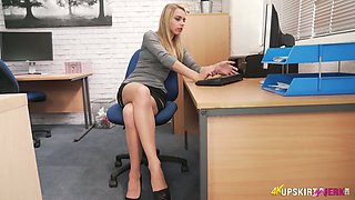 Gorgeous office slut Chloe Toy takes off panties and shows off pussy upskirt