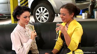Car fixing turns into a really stout blowjob provided by two hot brunettes