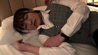 Sleeping Asian schoolgirl has a horny boy using her pussy