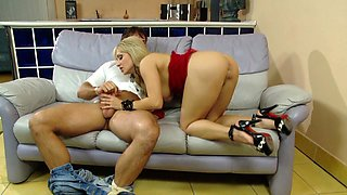Horny blonde hard pounded