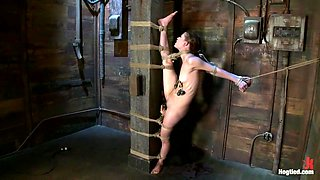 Standing splits, full strappadoIntense foot caning, brutal orgasms ripped from her helpless body