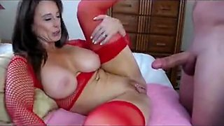 Big tits milf in red fishnet and heels dirty sex online