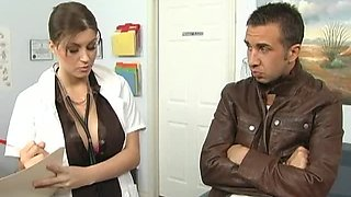 Brunette Doctor with Big Natural Tits Sara Stone Taking on a Big Cock