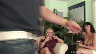 3 Hot Cougar Bitches on Tilt Get their Twats Split!