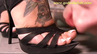Rude mistress whips her slave and tramples him in highheeled shoes