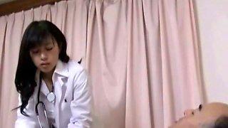 Horny patient sucks asian nurse nipples