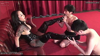 Japanese Femdom Licking Boots and Nipple Punishment