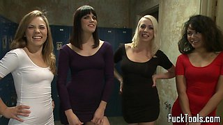 Lesbian foursome toy pussy with an audience