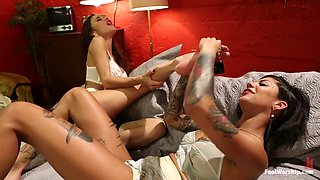 Exotic fetish, tattoos sex video with horny pornstars Bonnie Rotten and Gia DiMarco from Footworship