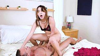 Stepdaughter seducing her lonely stepdad