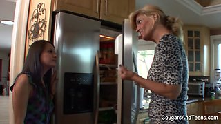 Blonde Milf & Her Stepdaughter Seduce The Maid - CougarsandTeens