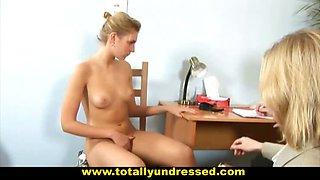"Sexy blonde secretary gets""interviewed"