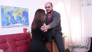 Lovely college girl gets teased and drilled by elderly schoo