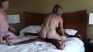 Busty mature wife rides a black dick in front of her husband