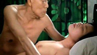 Eiko Matsuda nude giving a blowjob to a guy in various