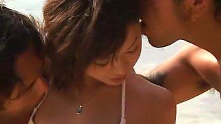 Amazing Japanese slut Natsumi Akimoto in Incredible Threesomes, Beach JAV clip