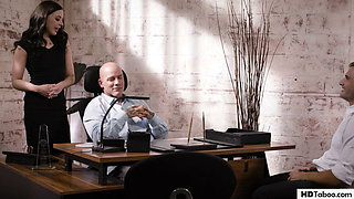 CEO and stepson fuck the same assistant's pussy