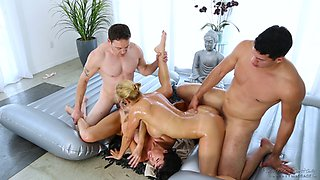 Passionate foursome drilling for the sexy Veronica and gorgeous Alexis