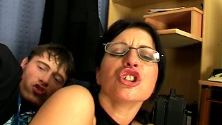Perverted brunette clerk Simone desires to ride and suck strong dicks in office