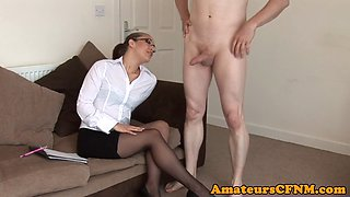 Spex CFNM babe sucking cock and balls
