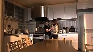 Two lustful Japanese wives enjoy a steamy lesbian romance