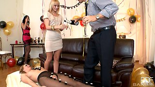 Smoking hot Aleska Diamond and her friend take care of a dick