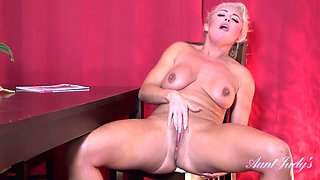 Busty blonde aunty, Rebecca likes to masturbate in front of the camera, every once in a while