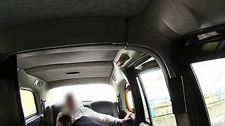 Romanian babe flashing huge tits in cab