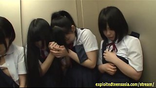 Jav Schoolgirls In Elevator Ambushed One Girl Shamed And Fucked In Front Of Her Friends