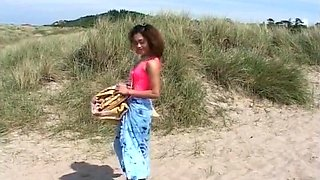 Horny Ebony Teen Rides Big Cock In The Dunes