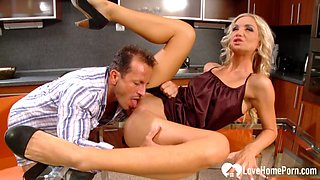 Blonde and her husband are fucking in kitchen