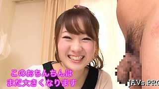 Japanese slut plays with ribald cleft and sucks dick