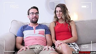 Sexy cougar MILF stepmom sucks a nerdy guys big cock