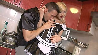 Heart stopping blonde maid fucks her eager boss in hardcore style