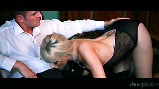 Glamour blonde rides her man without taking off pink panties
