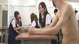 New Japanese transfer student goes naked in school CFNM