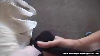 British houswife lets a panty perve fuck her knickers