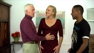 Bisexual grandpa with ebony male and women