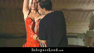 Tied up and restrained blonde bitch gives submissive blowjob