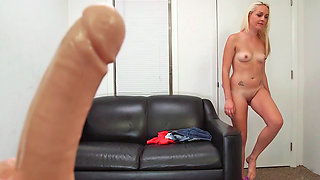 Naive blonde chick, Ashley Stone made her first porn video