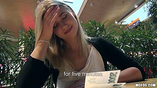 Lovely blonde teen is happy to get finger banged outdoors