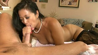 Short legged Asian MILF gets fucked from behind and in mish pose
