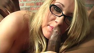 Blondie in glasses Barb Cummings enjoying two stiff wieners