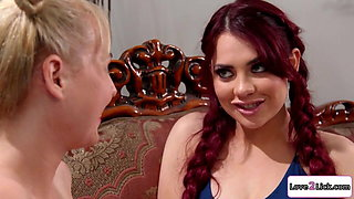 Blonde squirts milk on busty redhead's cunt and dovefucks her